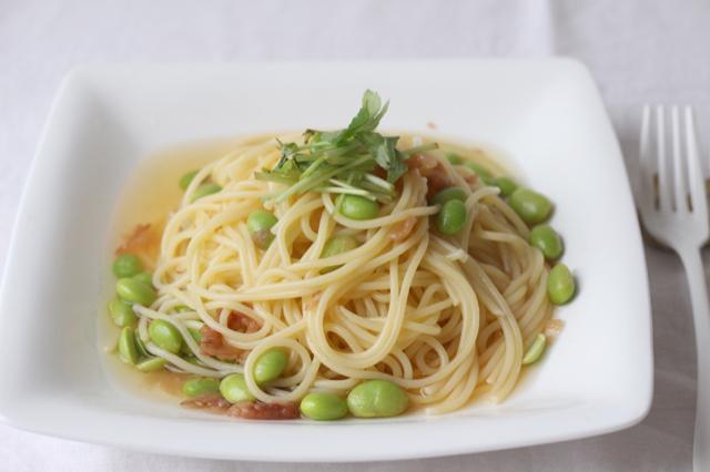 冷凍枝豆と梅干しの和風パスタ